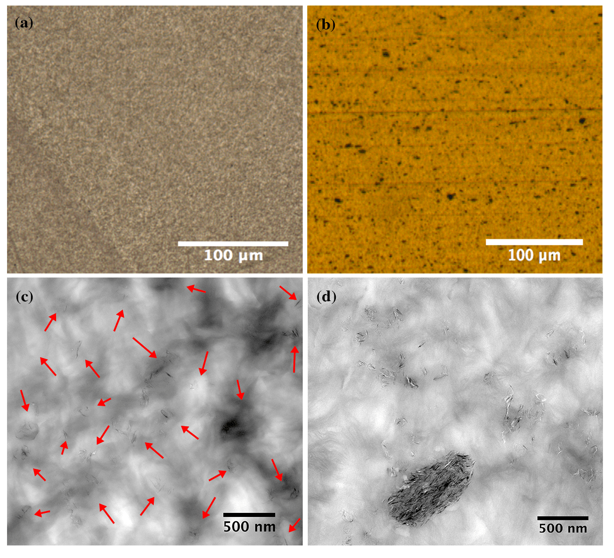 Figure 1. (a-b) Light microscopy images and (c-d) TEM images show the dispersion and distribution of 1 wt.% loading of graphene platelets within the multimodal-HDPE matrix. Images for the similar nanocomposite produced by a pre-existing processing protocol (right), were compared with PE-g-1% produced in this study (left). The TEM and light microscopy images were taken at 10k and 20x, respectively.