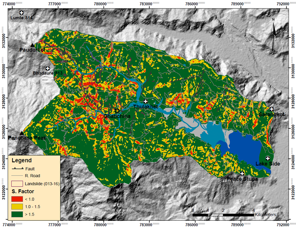 LSM of Phewa Lake watershed (scenario 1) indicting the rural roads, fault line and landslides inventory of 2013-2016.